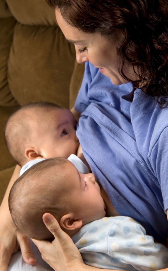 Put each baby on the opposite breast at the next feeding.
